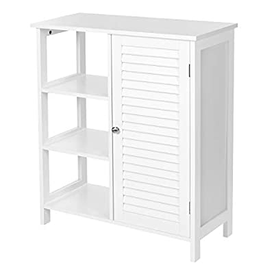 VASAGLE Bathroom Floor Cabinet, Freestanding Storage Cabinet with 3 Open Compartments, 1 Inner Adjustable Shelf, 27.6 x 11.8 x 31.5 Inches, Scandinavian Style, Matte White UBBC140W01