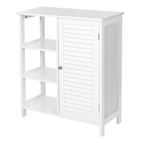 VASAGLE Bathroom Floor Cabinet, Freestanding Storage Cabinet with 3 Open Compartments, 1 Inner Adjustable Shelf, 27.6 x 11.8 x 31.5 Inches, Scandinavian Style, Matte White UBBC140W01