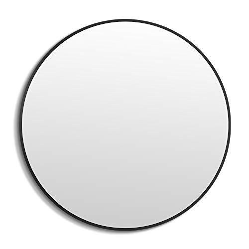 ANYHI Espejo de Pared con Marco Negro, Espejo Redondo de 50 cm para Baño, Entrada, Sala de Estar