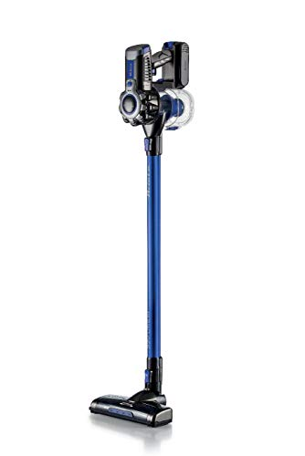 Ariete 2722 - Aspirador Escoba sin Cable 2 en 1 (22 V batería Litio, 1 litro, indicador led, Triple filtración, Filtro hepa, silencioso), Color Azul Detalles Gris
