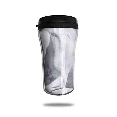 Taza de café de viaje con impresión 3D, taza de té, taza de agua aislada, taza de viaje para hombres, mujeres y niños, color blanco