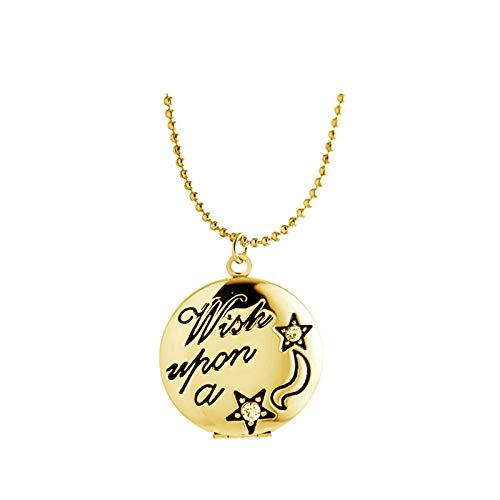AueDsa Collar de Foto Medallón,Collar de Medallón Estrella con Redondo Collar Medallon Mujer Oro