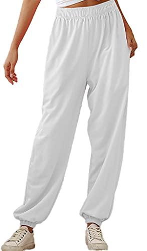 Yutdeng Pantaloni lunghi da donna, in cotone, per lo yoga, per il tempo libero, da donna, lunghi, bianco, L