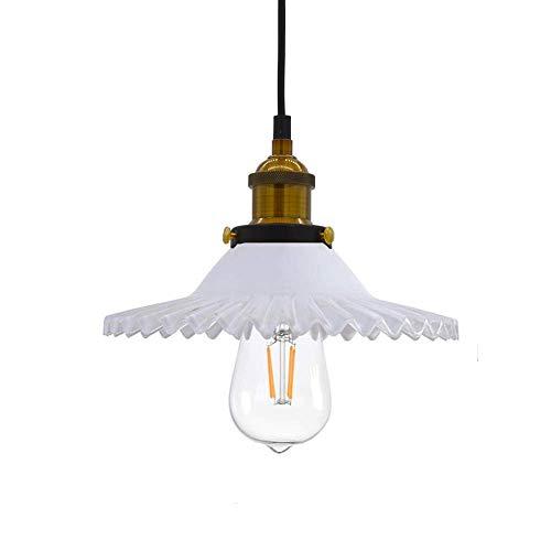 Huahan Haituo Industrial Vintage colgante lámpara de cristal pantalla de vidrio retro lámpara de suspensión de la lámpara de techo lámpara colgante lámpara de luz colgante (blanco)
