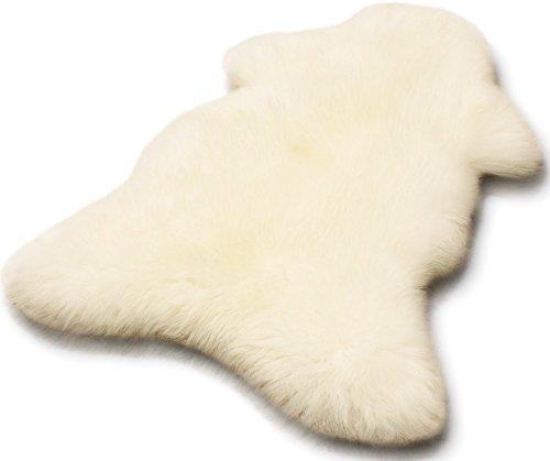 Zaloop Öko Lammfell Schaffell Merino weiß ca. 90-100 cm echtes Fell