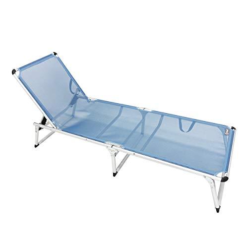 Homecall - Tumbona plegable de aluminio sin parasol, Azul