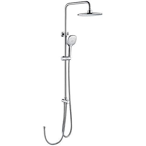 KAIBOR Edelstahl Duschset ohne Armatur, Chrom Duschsystem mit Handbrause von 3 Strahlarten, 24x24 cm Kopfbrause, Brausestangenset Regendusche mit Höhenverstellbar Duschstange
