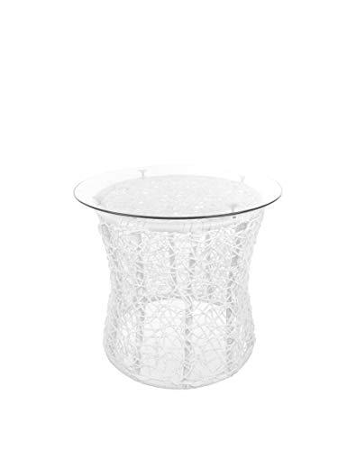 Kideo tuintafel, rottafel, tafel passend bij hangstoel, wit, polyrotan met glasplaat, bijzettafel, lounge meubels, lounge tafel 50CM wit