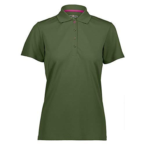 CMP – F.LLI Campagnolo Damen Atmungsaktives Poloshirt mit Komfort Fit T Shirt & Polo, Olive, D40