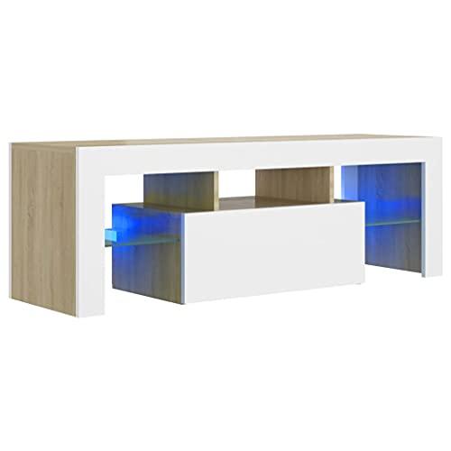 vidaXL TV Schrank mit LED-Leuchten Lowboard Fernsehschrank Fernsehtisch Sideboard HiFi-Schrank TV Möbel Tisch Board Weiß Sonoma-Eiche 120x35x40cm