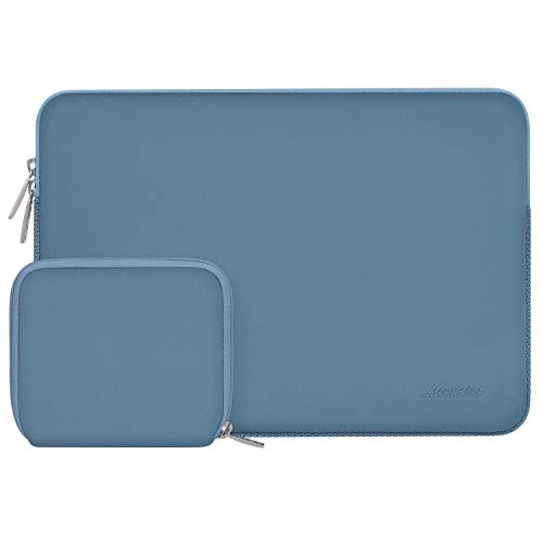 MOSISO Laptop Sleeve Compatible with 13-13.3 inch MacBook Pro, MacBook Air, Notebook Computer, Water Repellent Neoprene Bag with Small Case, Navy Lime