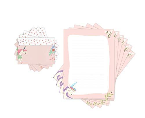 Friendly Fox - Papel de carta infantil UNICORNIO con líneas, 20 hojas con sobre, para niños y niñas