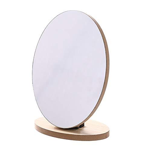 WBFN Wood stand tabel make-up spiegel Cosmetische Desktop make-up spiegels Beauty passpiegels Student slaapzaal Book Mirror Nieuw (Color : Folded ellipse)
