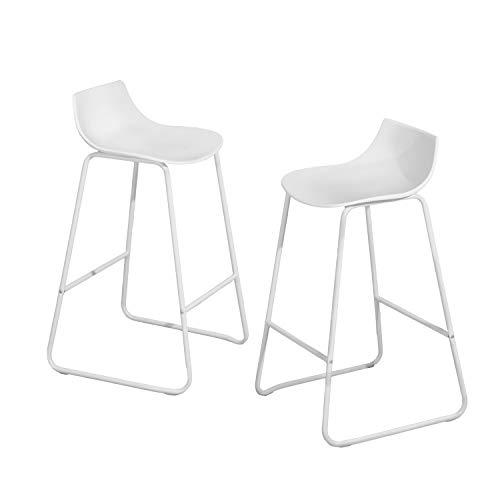 Muele Cosy Thyblle - Juego de 2 taburetes de Bar para Cocina con Respaldo de Polipropileno y Patas de Metal, Color Blanco, 40 x 48,5 x 84,5 cm
