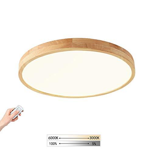 Holz LED-Deckenleuchte Ultradünne Runde Deckenlampe Dimmbar Mit Fernbedienung, Holzlampe für Schlafzimmer Wohnzimmer Esszimmer Büro Flur Kinderzimmer Decke Licht Küchenleuchte, Moderne Lampe,Ø50cm 36W