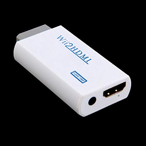 Wit Plastic Wii naar HDMI Wii2HDMI Adapter Converter Full HD 1080P Uitgang Upscaling 3,5 mm Audio Video-uitgang (zwart)