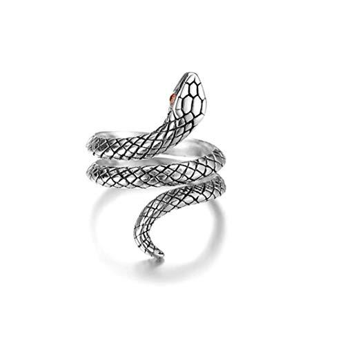 1PC aperto dell'annata Snake Anelli Retro semplice placcati argento del serpente degli animali degli anelli di barretta punk gotica Jewelry Finger per le donne ragazze (argento antico)