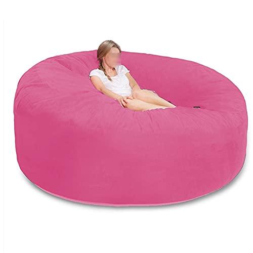 7-Fuß-Sitzsackbezug für Erwachsene, (ohne Füllstoff) Riesiger Sitzsackbezug Durable Chair Sofas, Microsuede Fiber Sofa Wohnzimmerbett Großer Sitzsack Tatami-Stühle (Color : Dark pink)