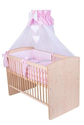 KMbaby Babybett K2 Naturholz Farbe 120x60 mit 10tlg Bettwäsche Set Matratze Gitterbett rosa grau