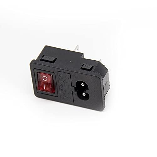 1 interruptor basculante 10A fusible IEC320 C14 toma de corriente de entrada conector de interruptor de fusible enchufe de 2 pines 2.5A 250V sin luz / luz roja verde ( Color : Red , Size : No light )
