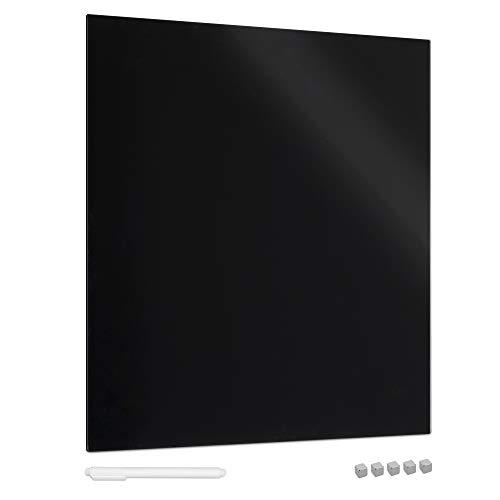 Navaris Pizarra magnética de vidrio - Tablero de notas de cristal de 48 x 48 CM - Tablón de recordatorios con rotulador imanes y soporte - Negro
