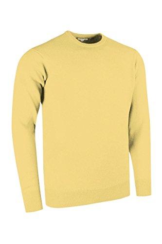 Glenmuir Mens MKL5902CN Crew Neck 100% Lambswool Golf Sweater Light Yellow L