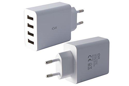 Ksix Cargador Red 4 USB 4.5a con Carga Inteligente Blanco