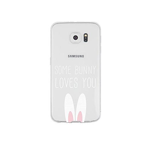 licaso Handyhülle kompatibel für Samsung Galaxy S6 Edge I Schutzhülle aus TPU mit Some Bunny Loves You Print I Transparente Hülle Handy Aufdruck I Weich Silikon Durchsichtig