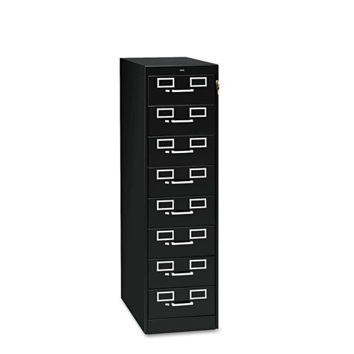 Eight-Drawer File Cabinet for 3 x 5 & 4 x 6 Cards, 15w x 52h, Black