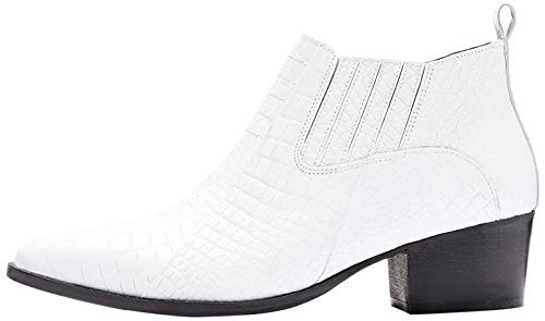 find. Croc Embellished Leather Botines, Blanco White, 39 EU