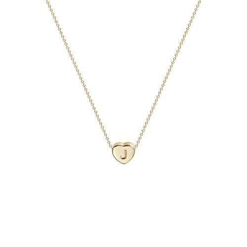 Tiny Gold Initial Heart Necklace-14K Gold Filled Handmade Dainty Personalized Heart Choker Necklace For Women Letter J