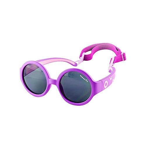 Mausito | Kindersonnenbrille | 1-3 Jahre | 100 Prozent UV 400 Schutz | Sonnenbrille Baby | Mädchen | Kleinkind | Purple Hippie | Kategorie 3 | biegbares Gestell | verstellbares Kopfband | lila pink