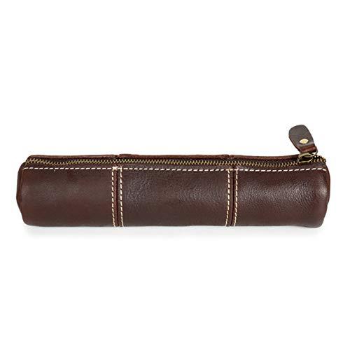 LIUXING-Home For Teenagers' School Bags para la Escuela, Funda de Cuero Trabajo de Oficina para Lápices y Pinceles Bolsa de Cremallera. Storage Box (Color : Dark Brown, Size : 20.5x4.5x5.5cm)