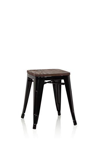 hjh OFFICE 645041 Hocker niedrig VANTAGGIO W Metall/Holz Schwarz Sitzhocker im Industry-Design mit Holz-Sitzfläche, stapelbar