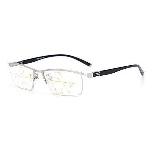 QXQX leesbril Presbiopia lens transparant half montuur veerscharnier bril, computerframe rechthoekig anti-fatigue +1.50