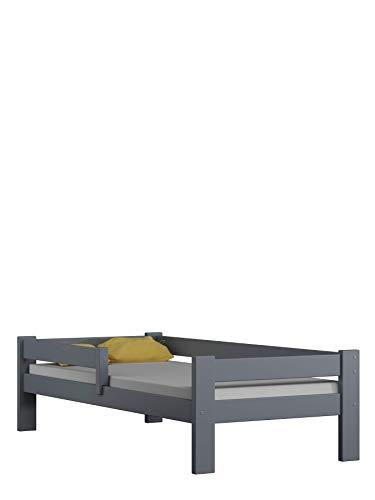Children's Beds Home Lit Simple en Bois de Pin Massif - Willow est livré avec Un Matelas en Mousse sans tiroir (140x70, Gris)