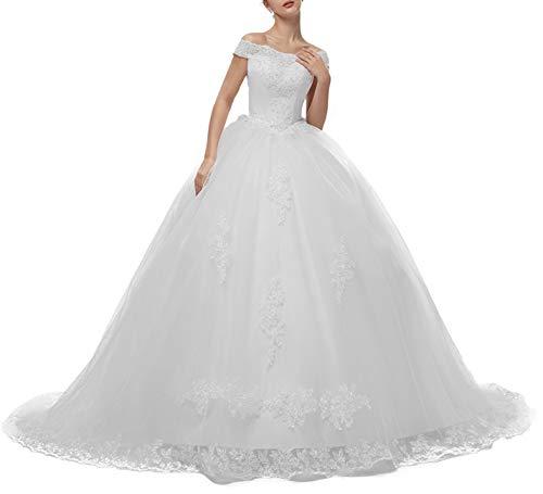 Brautkleider Damen Lang Hochzeitskleid Spitzen Prinzessin Brautmode A-Linie Tüll Standesamtkleider Schnürung Weiß 52