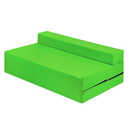 Futon Z - Silla doble plegable para silla de invitados Z para adultos y niños con funda extraíble con cremallera (lima)