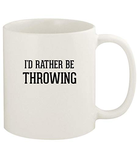 I'd Rather Be THROWING - 11oz Ceramic White Coffee Mug Cup, White