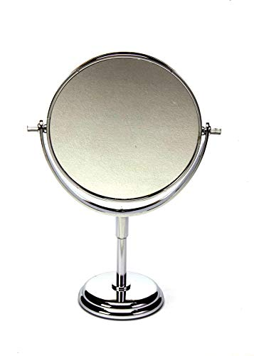 Homesoul Celebrationgifts Chrome Finish Double Sided 5X Zoom Tabletop Makeup Vanity Glass Mirror (8 Inch, Silver)