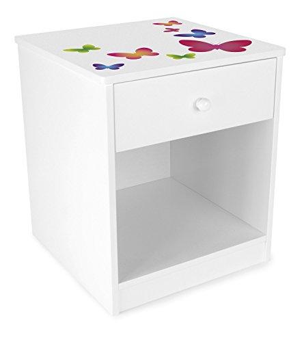 Leomark Comodino Classico per cameretta con cassetto e scompartimento apertoin, cassettiera per Bambini in Legno, Colore Bianco con Motivo Farfalle, Dimensioni: 34,5cm x 34,5cm x 40,5cm (LxPxA)