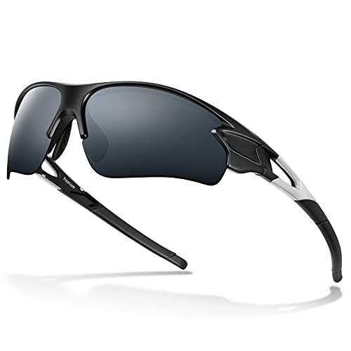 Bea Cool Occhiali Polarizzati Uomo da Sole Sportivi 100% UV400 Protezione (Nero opaco)