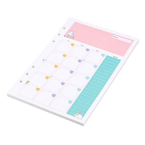 STOBOK Planner Bloc de notas 6 orificios Recargas de papel de relleno de hojas sueltas para el plan mensual Tamaño A5