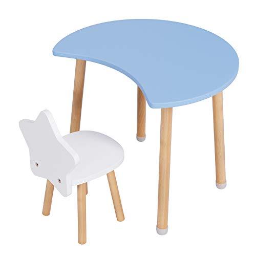 Homfa Juego Infantil de Mesa y Silla para niños Escritorio Infantil Mesa de Comedor (Azul)