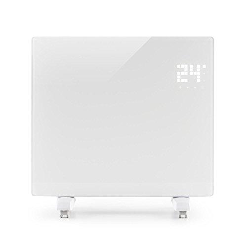 KLARSTEIN Bornholm Single - Radiateur à Convection, Pièces jusqu'à 25 m2, Protection IP24, 1000 W, Chauffage Rapide, Télécommande, Ecran Tactile LED, Mode ECO, Blanc