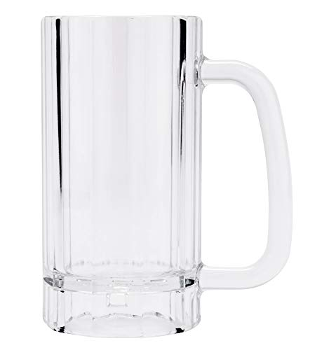 GET Shatter-Resistant Plastic Beer Mug / Stein, 16 Ounce, BPA Free, 00086-1-SAN-CL (Set of 4)