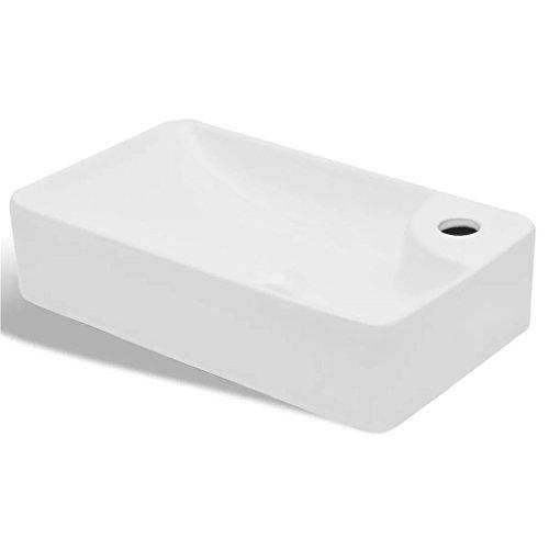 vidaXL Lavabo de Baño Redondo sobre Encimera Cerámica Blanco Lavamanos de Aseo