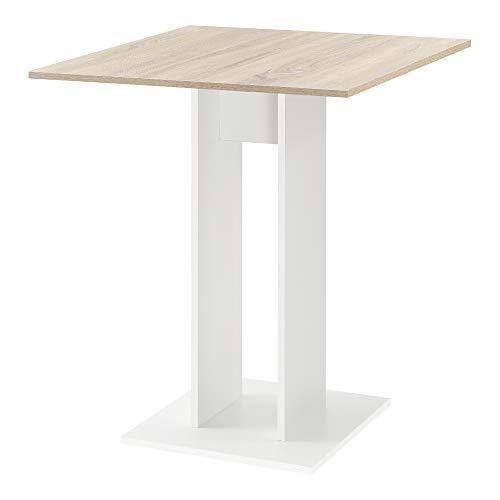 [en.casa] Mesa de Comedor Lindesnes 65 x 65 x 78 cm Mesa de Cocina o Salón Cuadrada Mesa de Bar Mesa de Bistro Efecto Roble y Blanco