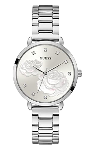 GUESS Women's Quartz Watch with Stainless Steel Strap, Silver, 16 (Model: GW0242L1)