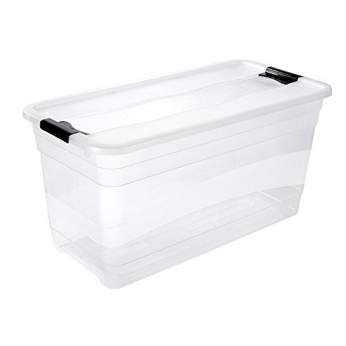 keeeper Aufbewahrungsbox mit Deckel und Schiebeverschluss, 79,5 x 39,5 x 40 cm, 83 l, Cornelia, Transparent